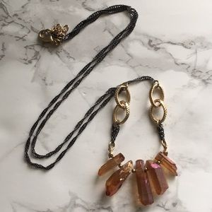 Jewelry - Titanium Raw Quartz Crystal Necklace Gunmetal Gold